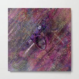 Saxophone Art Collage - mixed media Metal Print