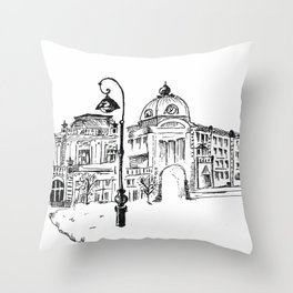 drawing pencil. the city central street, a streetlight on a front background. beginning of the 19th Throw Pillow