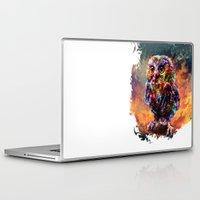trex Laptop & iPad Skins featuring brave little owl by ururuty