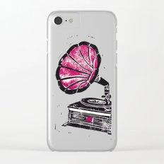 Linocut Gramophone Clear iPhone Case
