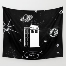 tardis black and white universe Wall Tapestry