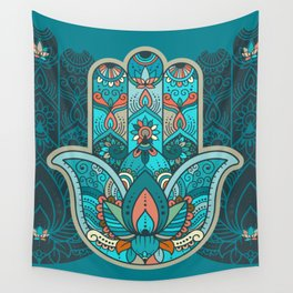 Hamsa Hand of Fatima, good luck charm, protection symbol anti evil eye Wall Tapestry