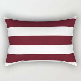 Chocolate cosmos - solid color - white stripes pattern Rectangular Pillow