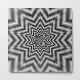 Optically Challenging Star in Black and White Metal Print