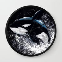 orca Wall Clocks featuring Orca by Kelly Katastrophe