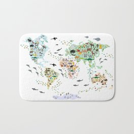 Cartoon animal world map for children, kids, Animals from all over the world, back to school, white Bath Mat