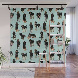 Black and Tan Coonhound Pattern Wall Mural