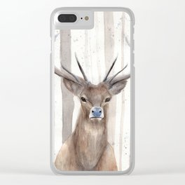 """Watercolor Painting of Picture """"Deer in Winter Forest"""" Clear iPhone Case"""