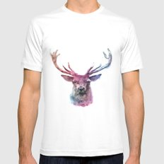 Ombre Deer White Mens Fitted Tee MEDIUM