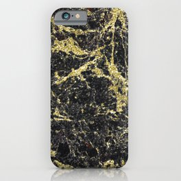 Marble - Glittery Gold Marble on Black Design iPhone Case