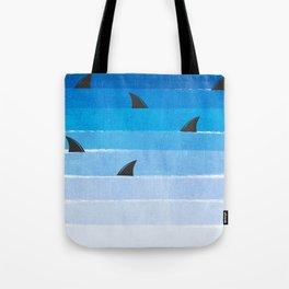 Sharks - shark week trendy black and white minimal kids pattern print ombre blue ocean surfing  Tote Bag