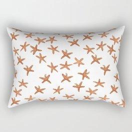 Aqua Coral and Gold Starfish Hand-Painted Watercolor Rectangular Pillow