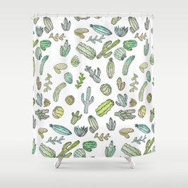 Cute Green Watercolor Paint Summer Cactus Pattern Shower Curtain