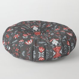 Scandinavian Folk Flower Pattern II Floor Pillow