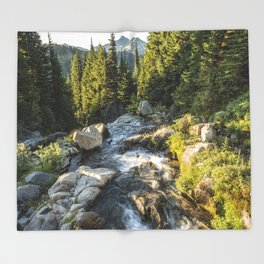 Top of the Morning at the Top of Myrtle Falls Throw Blanket
