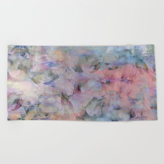 Painterly Soft Flora Abstract Beach Towel