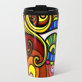 Abstract Doodle Face Travel Mug