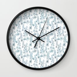 Winter patterns in blue. Wall Clock