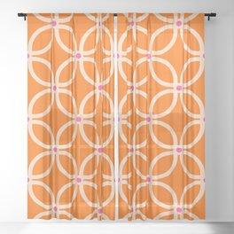 Trellis Orange Sheer Curtain