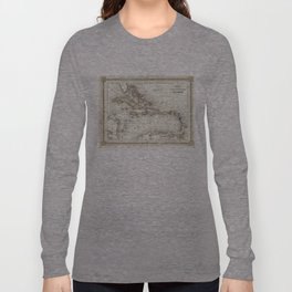 Vintage Map of The Caribbean (1852) Long Sleeve T-shirt