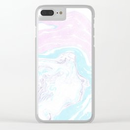 Colorful Waves Marbling Clear iPhone Case