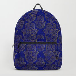 Hamsa Hand pattern - gold on lapis lazuli Backpack