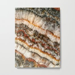 Agate Crystal V // Red Gray Black Yellow Orange Marbled Diamond Luxury Gemstone Metal Print