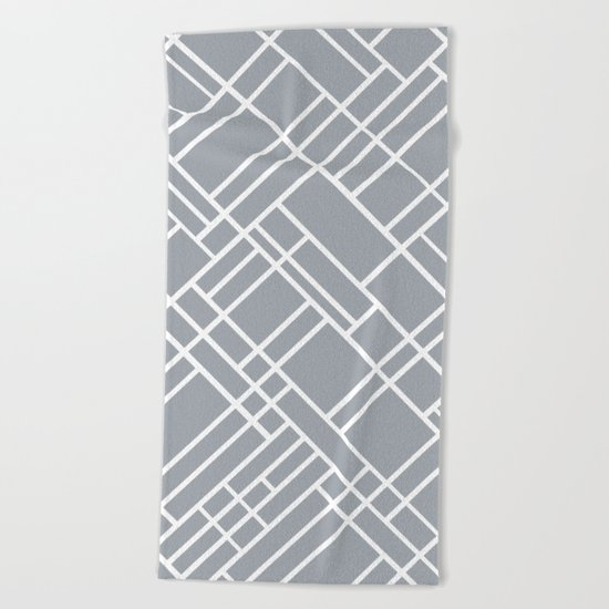 Map Outline Grey 45  Beach Towel