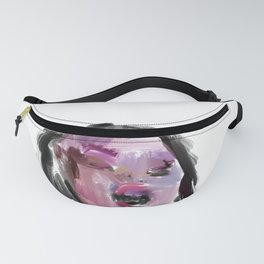 Yawning Girl in Purple Violet Blue Fanny Pack