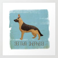 german shepherd Art Prints featuring German Shepherd by 52 Dogs