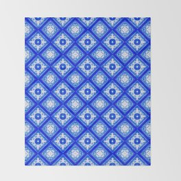 Sapphire Blue Geometric Throw Blanket