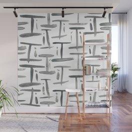 Watercolor I's - Grey Gray Wall Mural