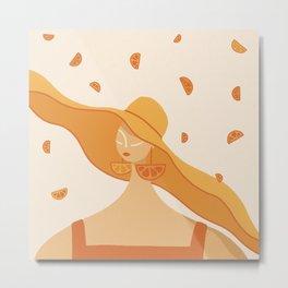 Girl with Orange Earrings Metal Print