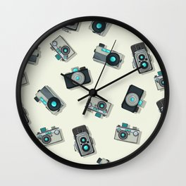 Vintage camera pattern Wall Clock