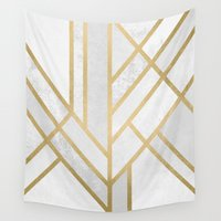 art deco Wall Tapestries featuring Art Deco Geometry 2 by Elisabeth Fredriksson