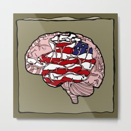 """Flag Mind"" - American Flag, Human Brain - Labor Day - www.davidjdiamant.com Metal Print"