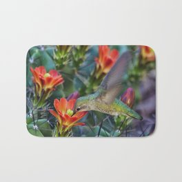 Hummingbird Sipping on Cactus Nectar Bath Mat