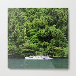 Secret Yacht in Romantic Tropical Tahiti Cove Metal Print
