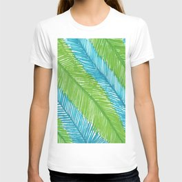 Blue and Green Palm Leaves T-shirt