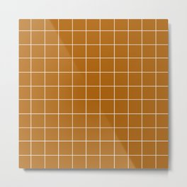 Grid (Golden Brown) Metal Print