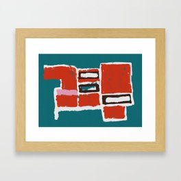Bue and Red Framed Art Print
