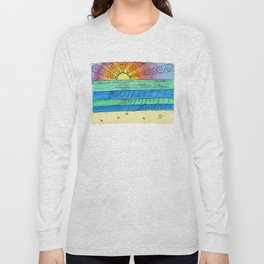 Stitched Watercolour Rainbow Sunset Long Sleeve T-shirt