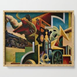 Classical Masterpiece 'Instruments of Power - Train, Airplane, Steam by Thomas Hart Benton Serving Tray