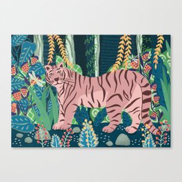 Tiger in a fantastic forest Canvas Print