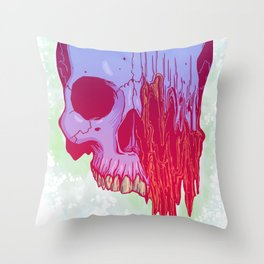 Distort candy color skull illustration Throw Pillow