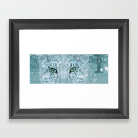 Snow Leopard day Framed Art Print
