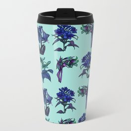 Botanical Flower Pattern | Blue Metal Travel Mug