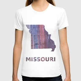 Missouri map outline Red Blue stained watercolor texture T-shirt