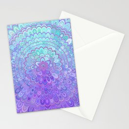 Mandala Flower in Light Blue and Purple Stationery Cards