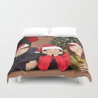 allison argent Duvet Covers featuring Merry Christmas - Argent Family by Finduilas
